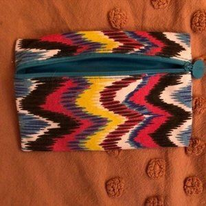 Ipsy Multi Colored Zig Zag Pattern Makeup Bag